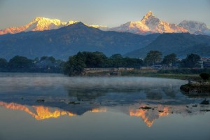 Reflection of Mount Fishtail over Phewa Lake